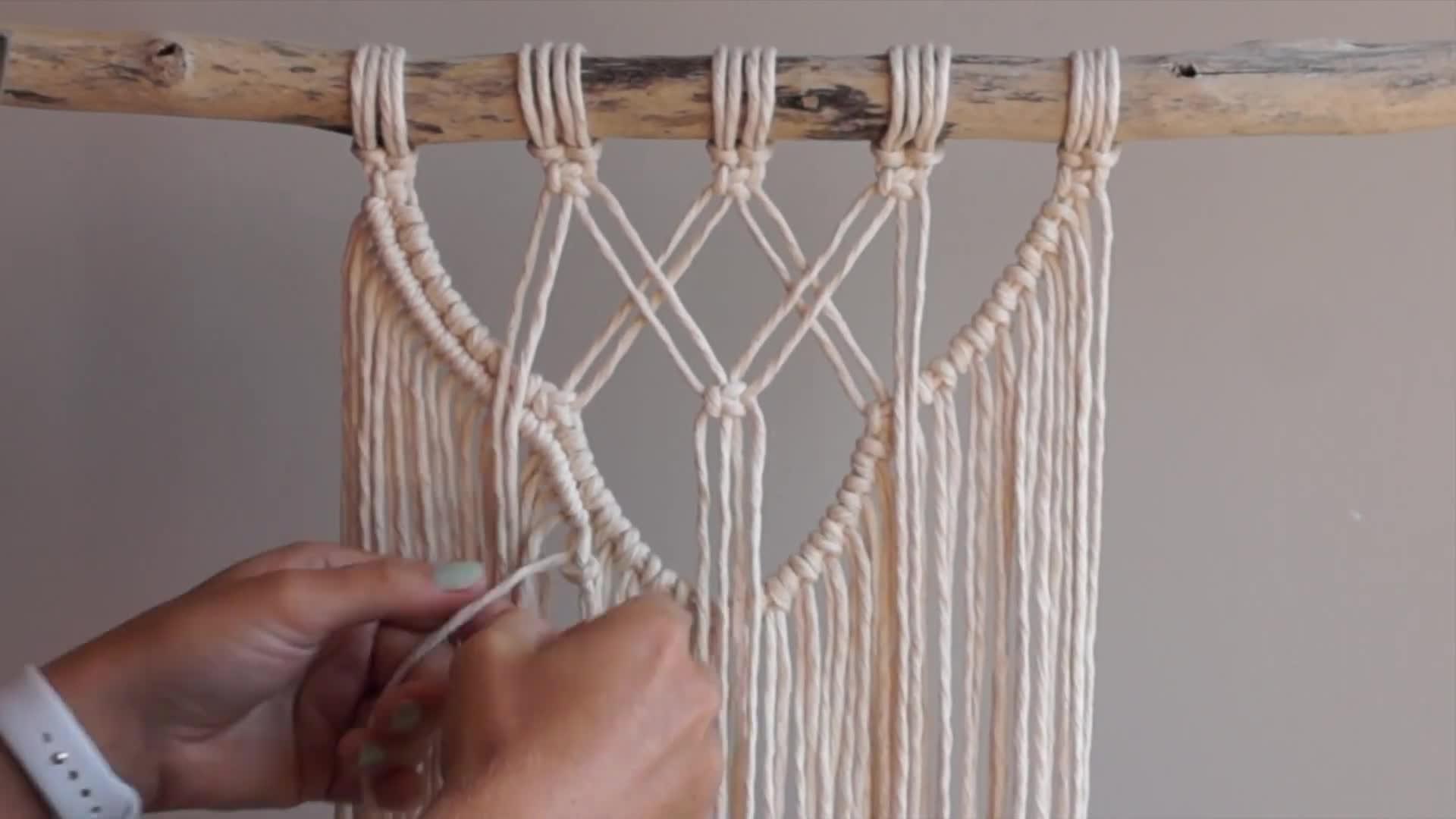 Macrame编织视频教程:中等难度的绳编挂毯编织教程(Part 1)