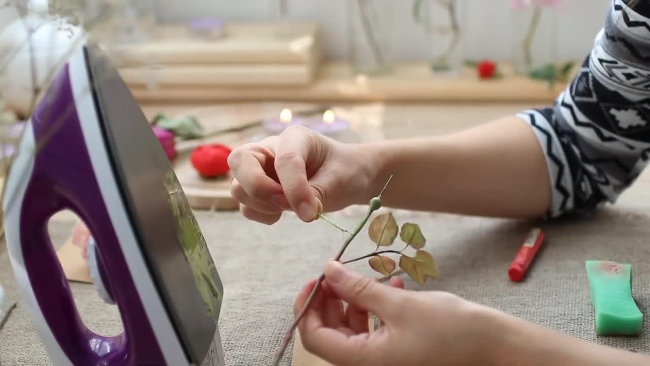 手工造花视频教程 - 热胶棒加油画棒,制作超逼真的花茎DIY教程
