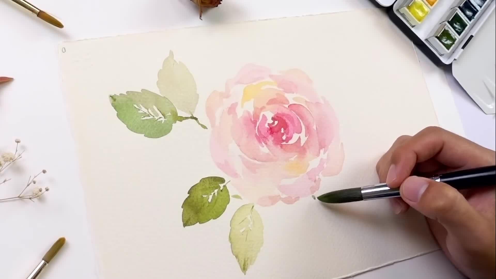 水彩画入门教程:玫瑰与树叶水彩手绘过程