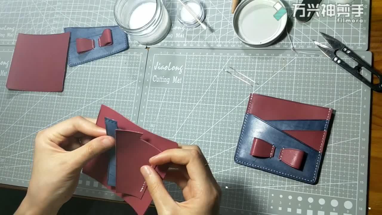 蝴蝶结卡包教程 两点手工皮具体验店出品