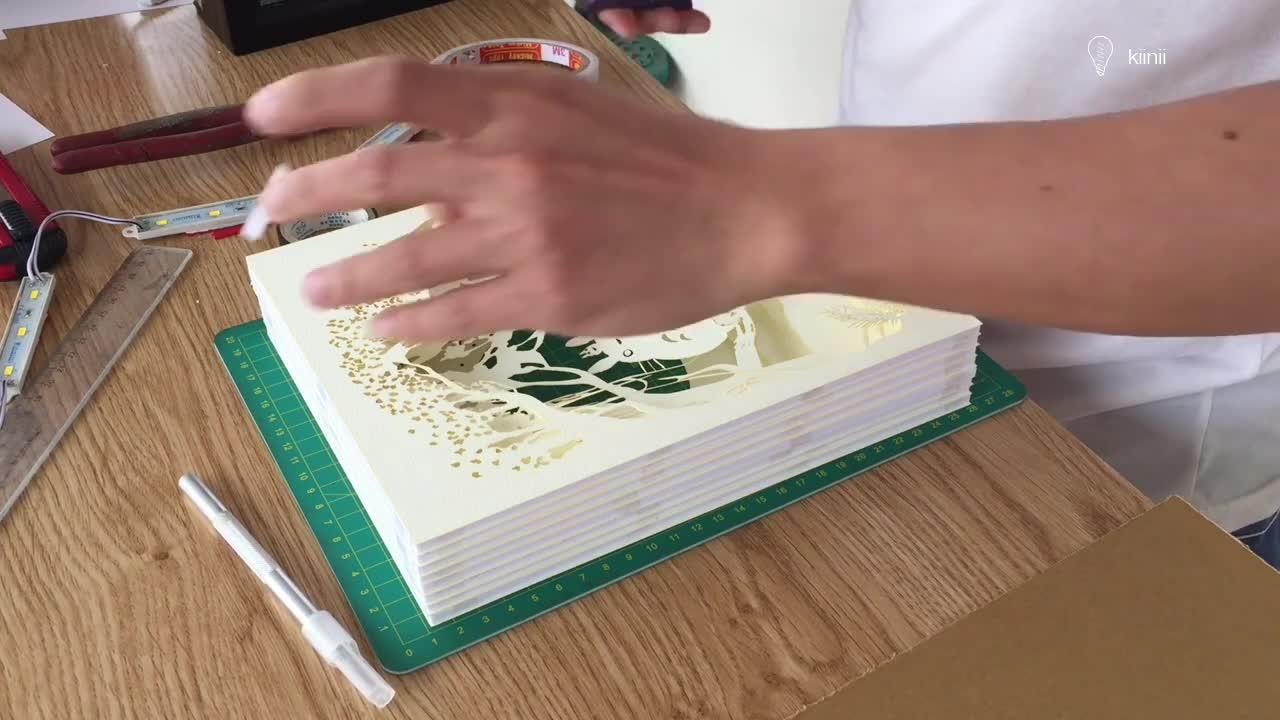 DIY龙猫图案的多层立体纸雕灯箱(视频)