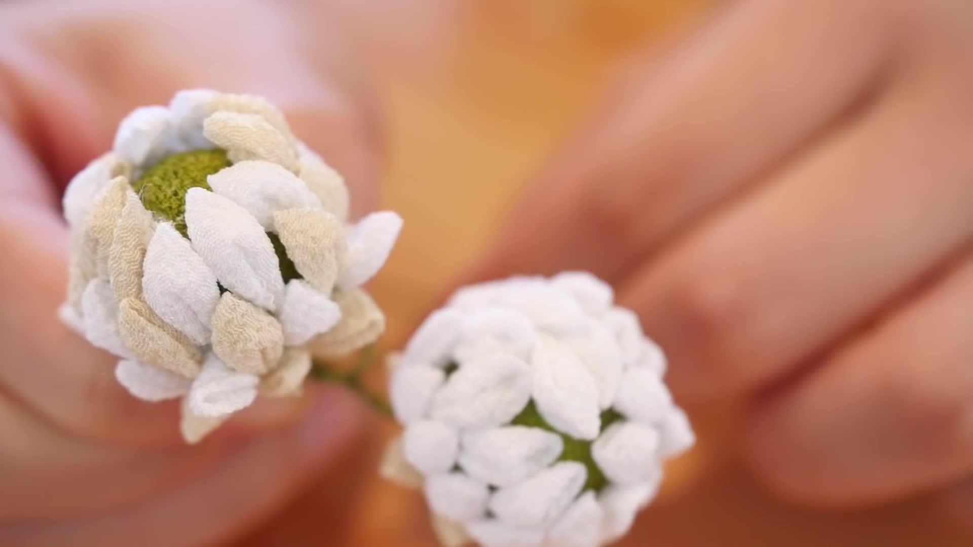 和风布花:白三叶草花冠diy手工制作视频教程