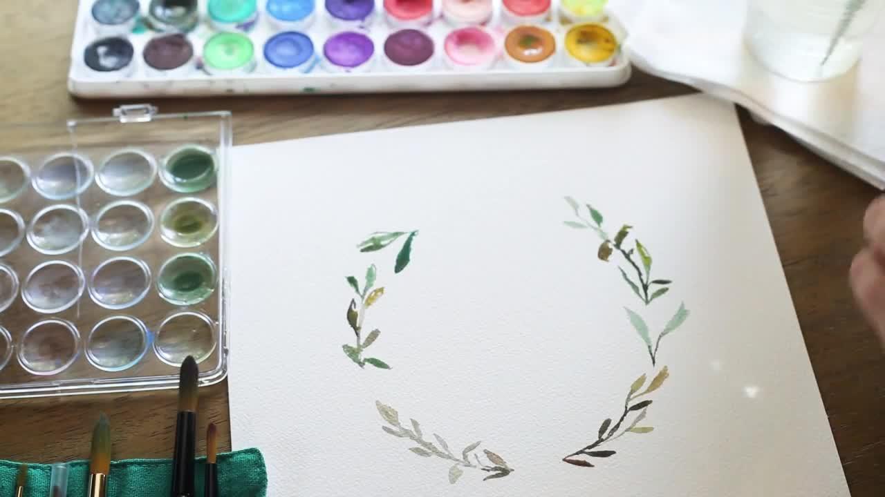 DIY手绘水彩花环