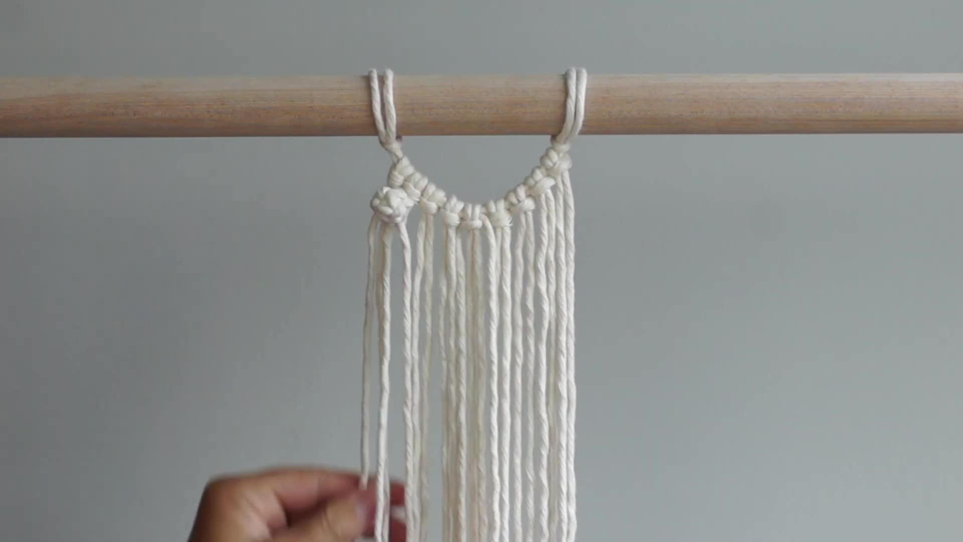 DIY Macrame绳编基础教程:半圆浆果结(Berry Knots)的结绳方法