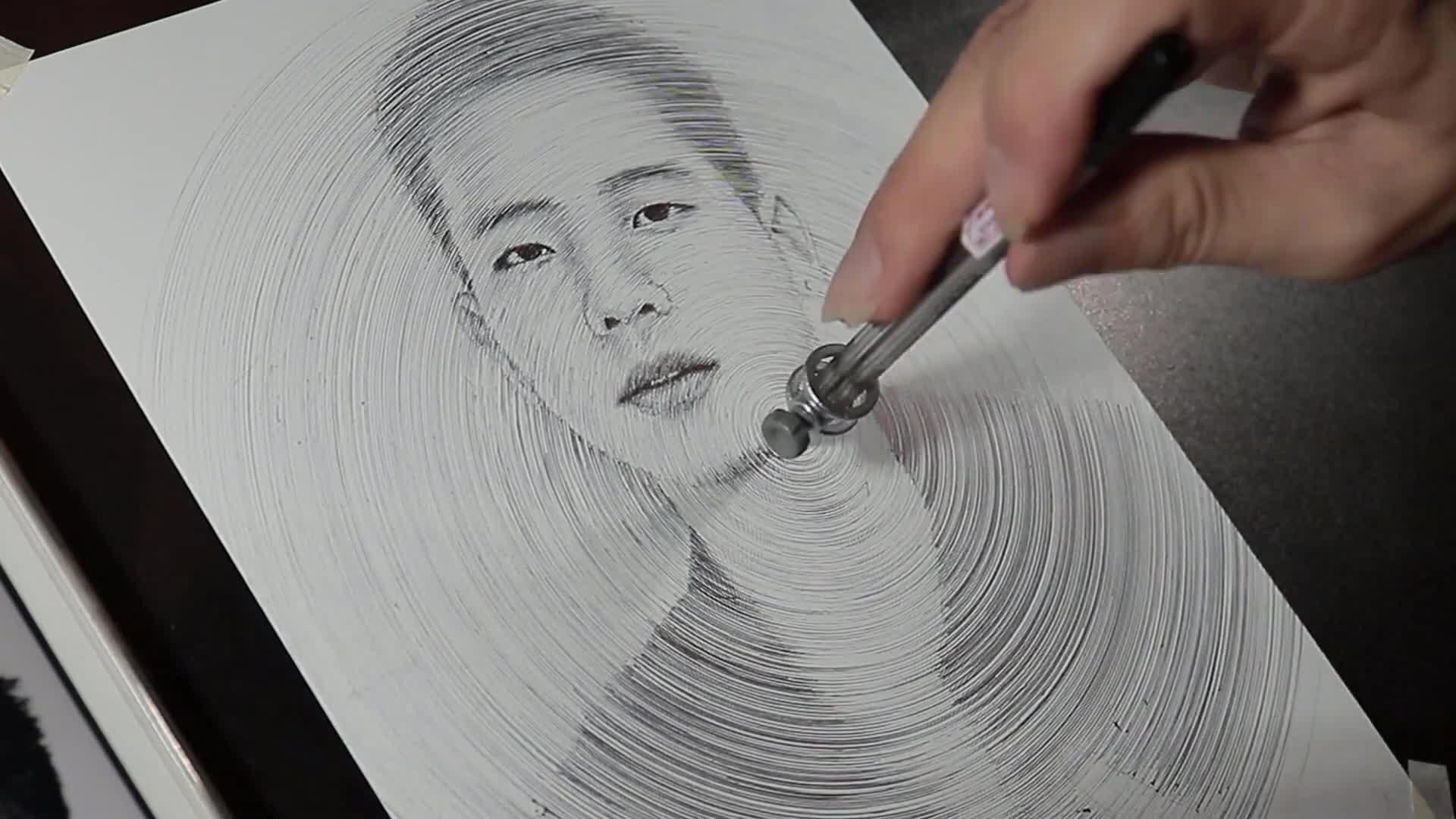 圆规绘出来的人物肖像画 | dP Art Drawing