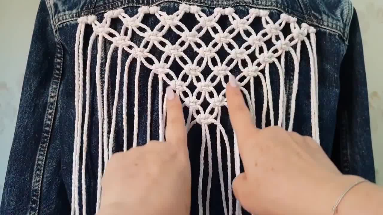 DIY Macramé绳编视频教程:给牛仔服来一个编织流苏