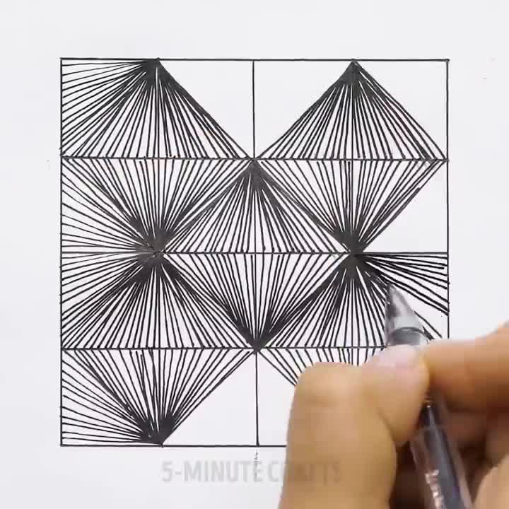 Zentangle禅绕画视频教程 | 5分钟可以画完的14种图案