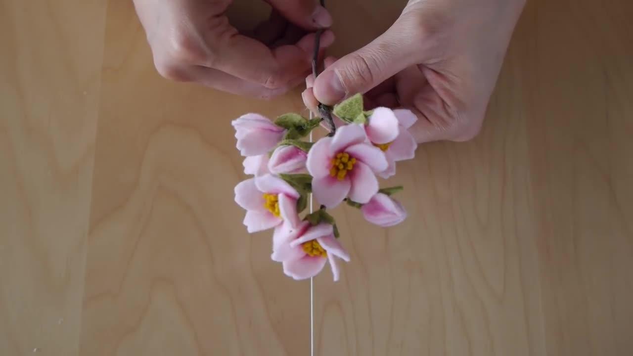 不织布(毛毡)手工花制作教程 - 不织布樱花制作
