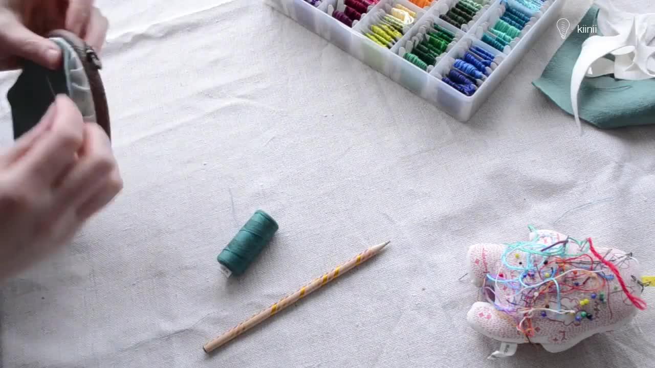 刺绣视频教程:刺绣完成之后的完美收尾,变成美美的绣箍艺术(hoop art)