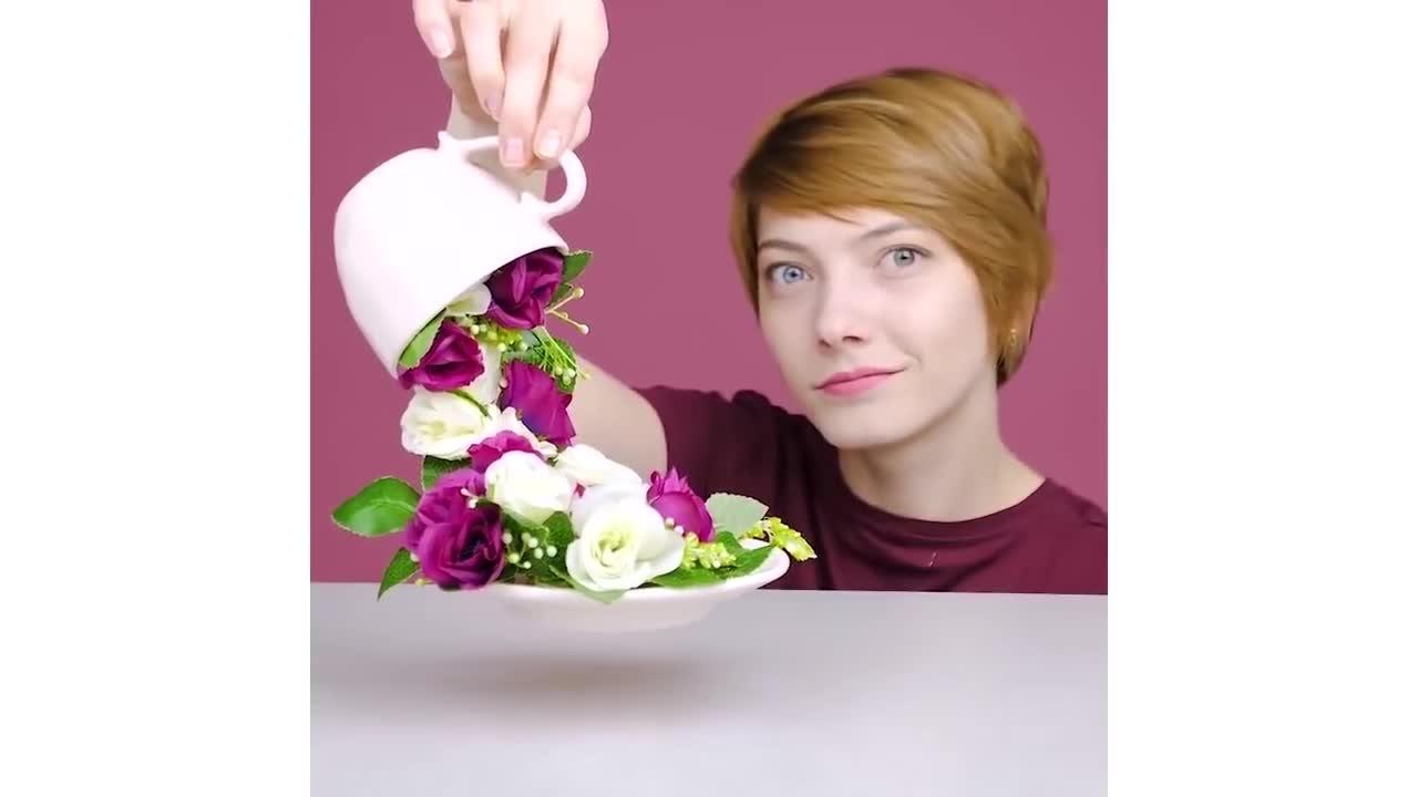 创意视频:3D立体花艺装饰雕塑