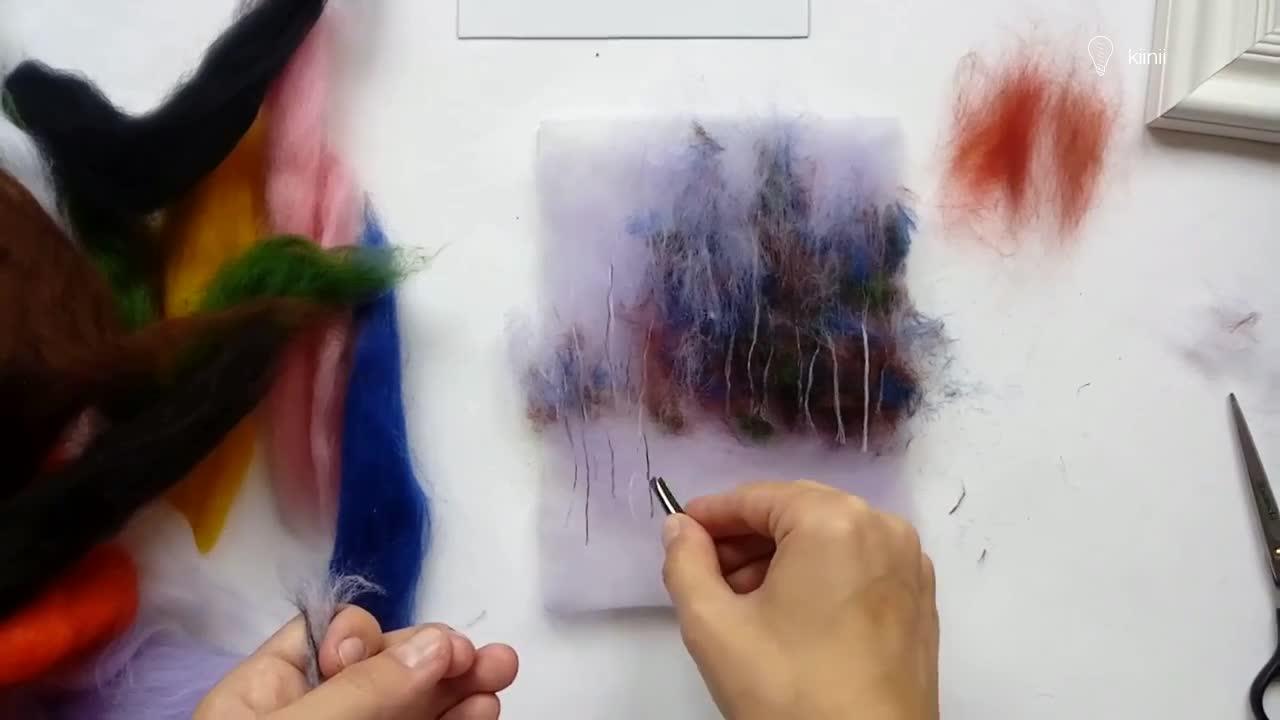 羊毛毡diy手工教程:羊毛风景画视频教程