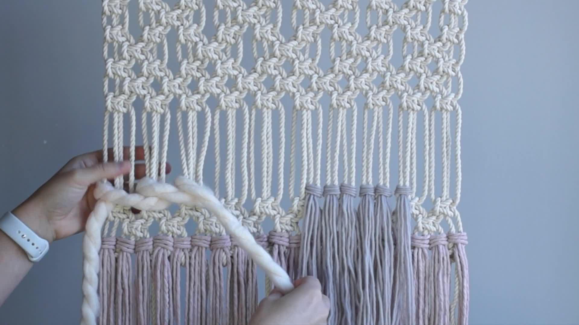 DIY Macrame绳编新手入门教程:绳编与编织结合而成的挂毯(墙挂)