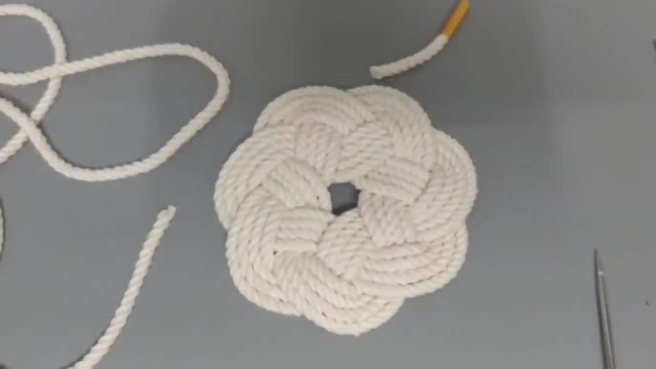 Macrame:梅花形状的绳编杯托/杯垫制作教程